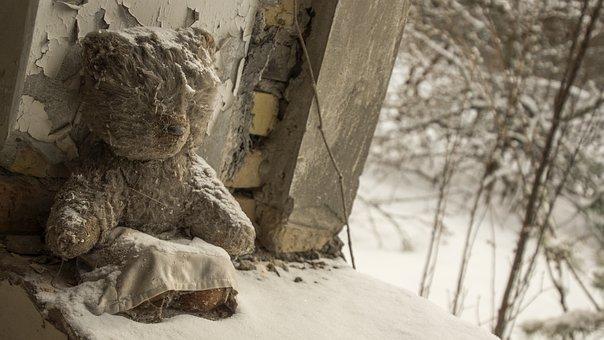 Teddy, Snow, Bear, Sitting, Fur, Toy, Childhood, Sad