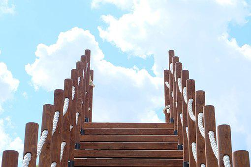 Sky, Ladder, Stairs, Wood