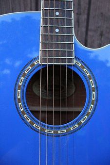 Guitar, Blue, Music, Close-up, Strings, Instrument