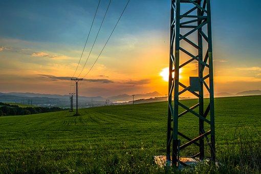 Column, Meadow, City, Field Grass, View, Sun, Sunset