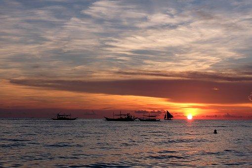 Boracay, Philippines, Sunset, Golden Hour, Beach