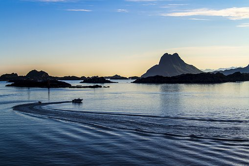 Sea, Evening, Sunset, Sky, Norway, The Mood
