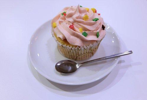 Cake, Spoon, Sweets, Plate, Baking, Dessert