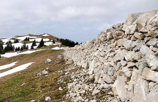 Jura, Wall, Pierre, Spring, Snow, Hiking, Landscape