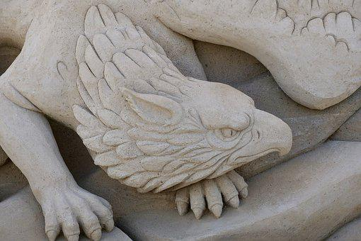 Griffin, Sand Sculptures, Sandworld, Artwork, Sculpture