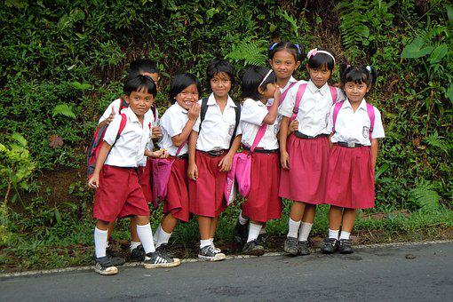 Bali, Indonesia, Children, School, Merry, Uniform