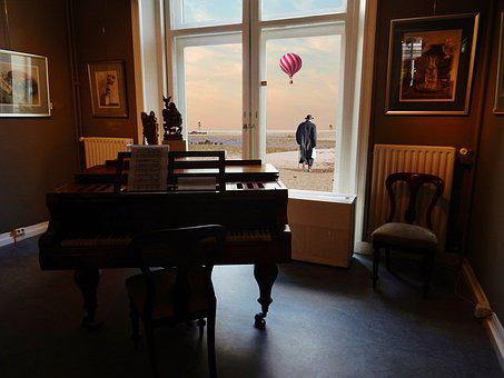 Window, Old Man, Man, Balloon, Beach, Lonely