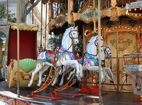 Carousel, Theme, Avignon, Fun, Colors, Horses