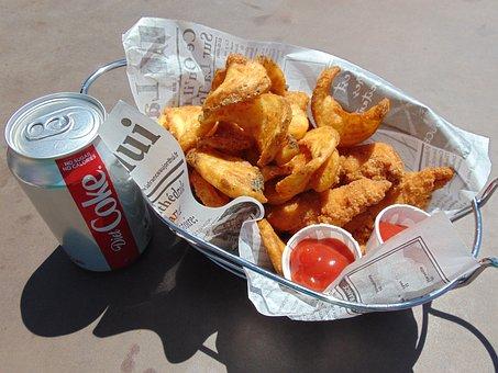 Food, Meal, Dinner, Chicken, Fries, Soda, Basket, Fried