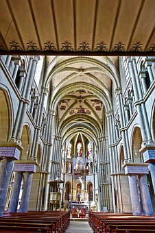 Cathedral, Nave, Church, Ceiling, Arch, Medieval