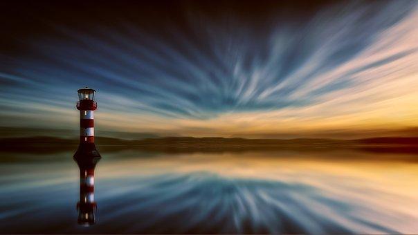 Lighthouse, Sea, Clouds, Evening, Water, Coast, Sky