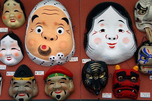 Masks, Japanese, Traditional, Culture, Face, Oriental