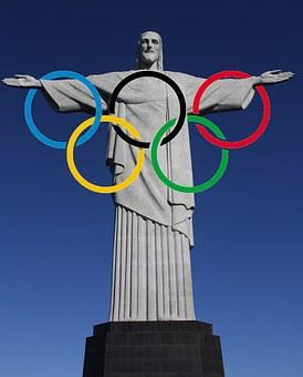 Figure Of Christ, Olympic Rings, Rio De Janeiro, Brazil