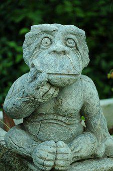 Monkey, Sculpture, Figure, Stone, Garden, Grey