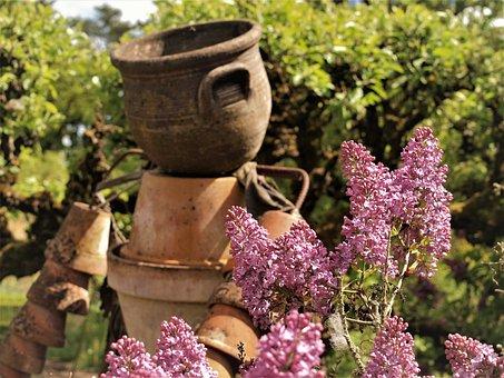 Lilac, Garden, Flower Pot, Sculpture