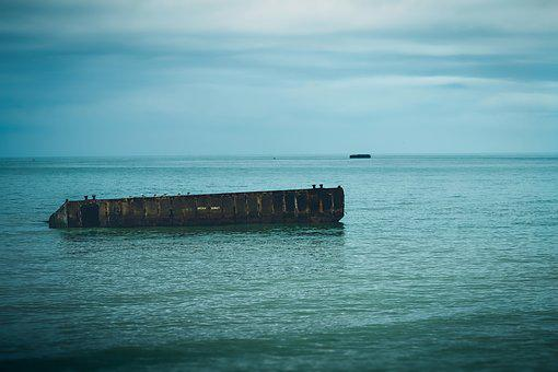 Arromanches, Mulberry, Harbour, Beach, France, Normandy