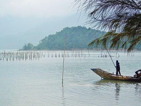 Viet Nam, Asia, Water, Visser, Man, Little Boat, Boat