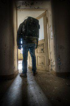 Man, Abandoned, Door, Light, Person, Male, Lonely