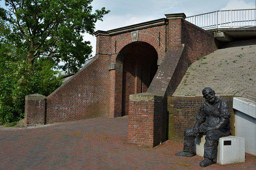 Delfzijl, Great Waterpoort, Figure, Old Man On A Stone