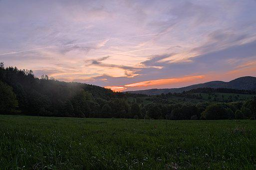 Sunset, Sky, Mountain Evening, Forest, Panorama, View