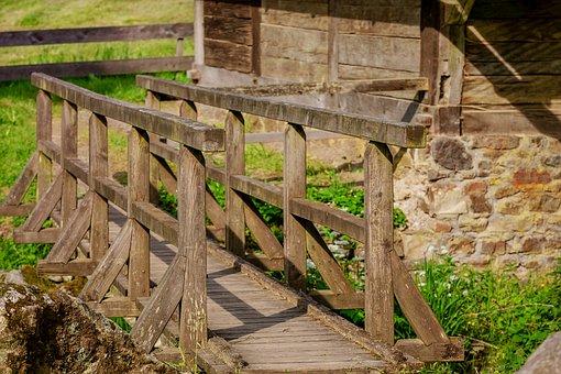 Away, Bridge, Web, Wood, Nature, Railing