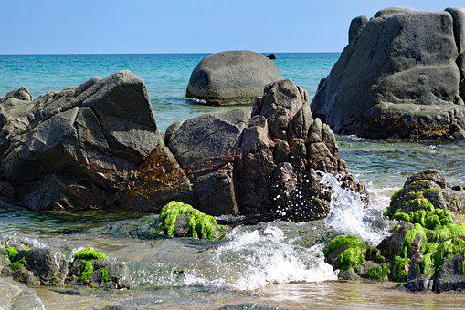 Rock, Beach, Sea, Wave, Sardinia, Arbatax