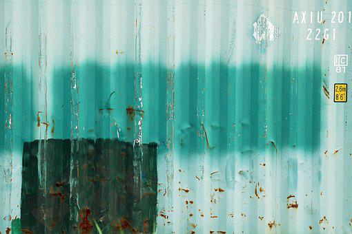 Containerwand, Rust, Corrugated Sheets, Green, White