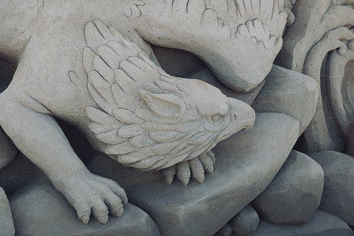 Griffin, Sand Sculptures, Sculpture, Sandworld, Sand