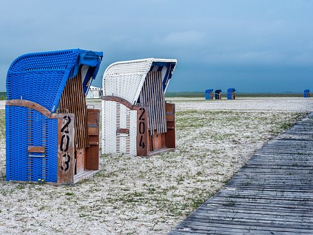 Beach Chair, Beach, Clubs, Sand, North Sea, Sea, Coast