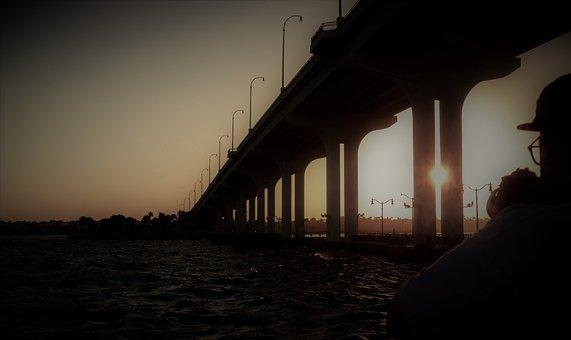 Bridge, Sunset, Lonely, Solitary, Sunlight, Usa