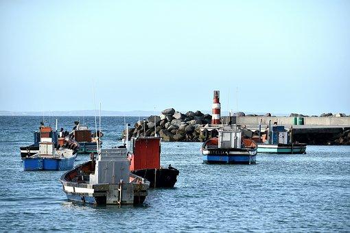 Fishing Boats, Harbor, Sea, South Africa, Struisbay