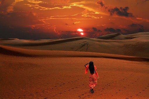 Desert, Sunset, Dessert, Woman, Air, Sand, Lonely
