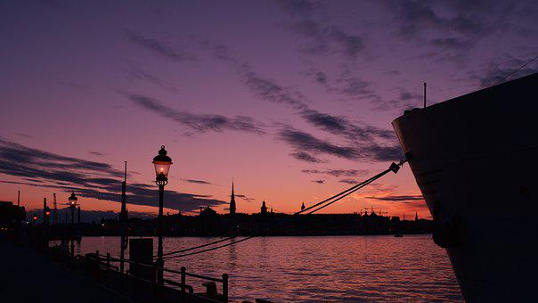 Sunset, Stockholm, Sweden, Boat, Cityscape, Travel