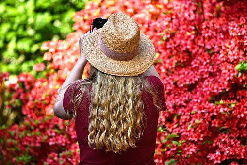 Person, Woman, Hair, Long Blonde Hair, Hat, Standing