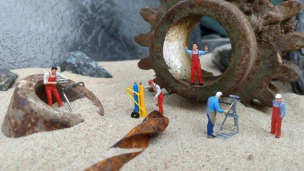 Workshop, Repair, Miniature Figures, Industry