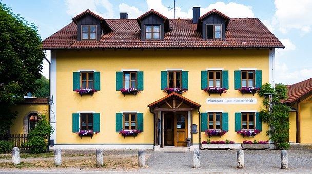 Home, Inn, Tavern, Bavaria, Yellow, Shutters