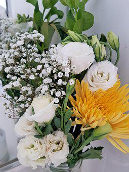 Flowers, White Roses, Yellow, Babies Breath, Floral
