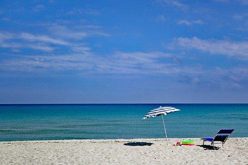 Beach, Sky, Blue Sky, Clouds, Sea, Parasol, Sun Lounger