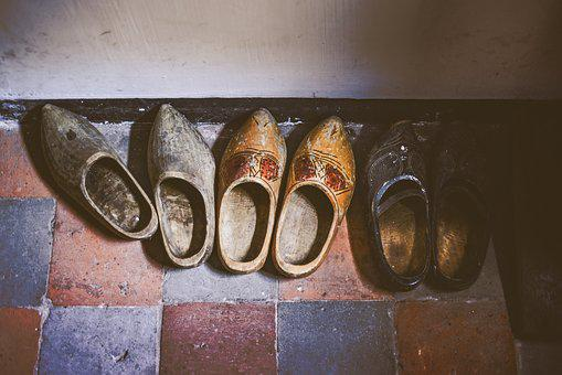 Clogs, Old, Vintage, Wood, Wooden, Footwear, House