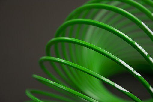 Slinky, Green, Coil, Plastic, Toy