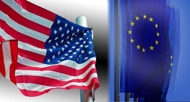 Usa, Europe, Flag, Usa Vs, America, Continents, Work