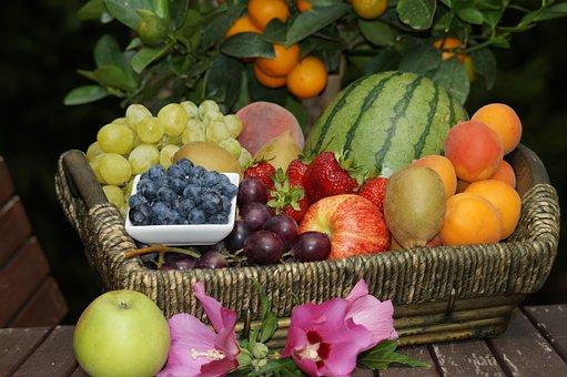 Fruit, Fruit Basket, Fruits, Apricots, Grapes