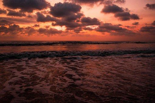Bali, Kuta, Sunset, Beach, Indonesia, Ocean, Sea