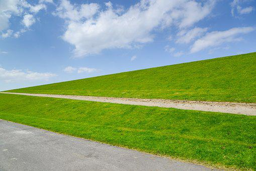 Dike, Dutch, Green, Perspective, Netherlands, Landscape
