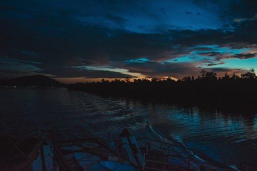 River, Gold, Sunset, Kapuas, Landscape, Nature, Water