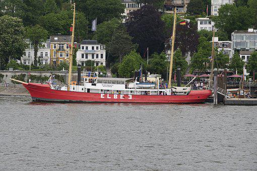 Lightship, Light Vessel Elbe 3, Hamburg, Museum Ship