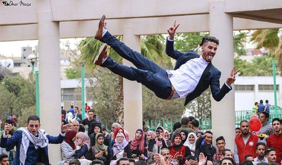 Flying Man, Graduation, University, School, Man