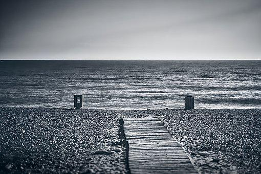 Beach, Empty, Monochrome, Sea, Water, Ocean, Nature