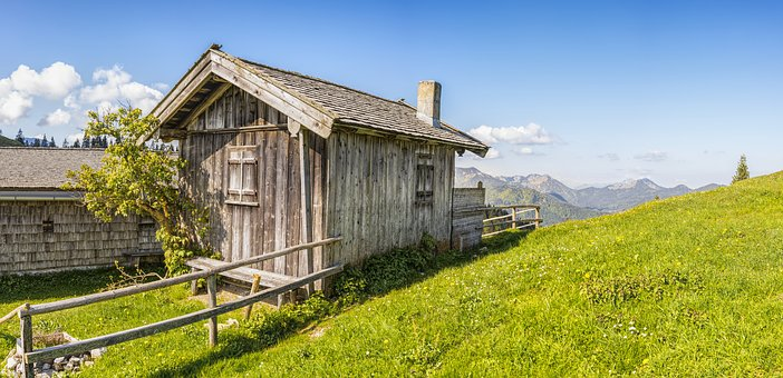 Alpine, Mountains, Hut, Wood, Landscape, Nature, Sky