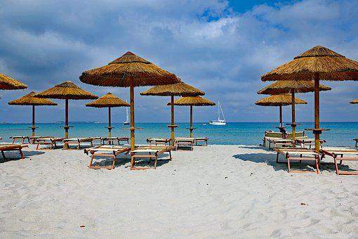 Beach, Parasol, Parasols, Sun Loungers, Urlaubsfeeling